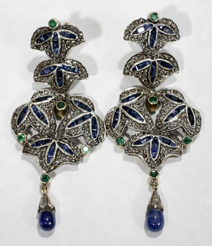 050010: GOLD, SILVER DIAMOND EMERALD SAPPHIRE EARRINGS