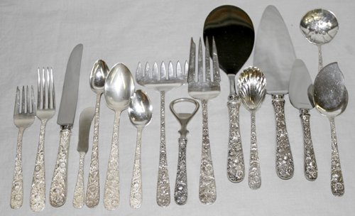 050017: S. KIRK & SON STERLING SILVER FLATWARE, 76 PCS