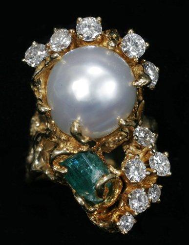 051006: PEARL, DIAMOND & 1.50CT EMERALD LADY'S RING