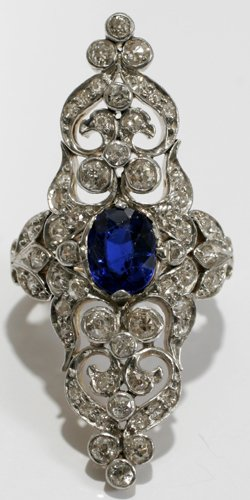 051007: WHITE & GOLD, BLUE SAPPHIRE & DIAMOND RING