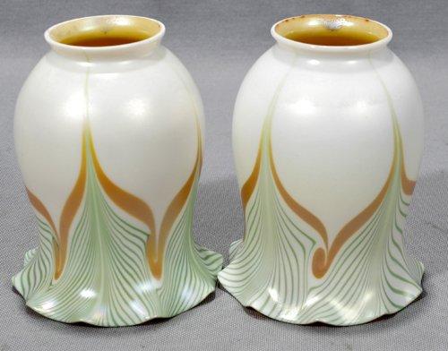 051011: STEUBEN GOLD AURENE & CALCITE GLASS SHADES