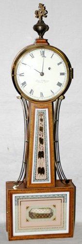 051021: ELMER O. STENNES, MAHOGANY & INLAY BANJO CLOCK