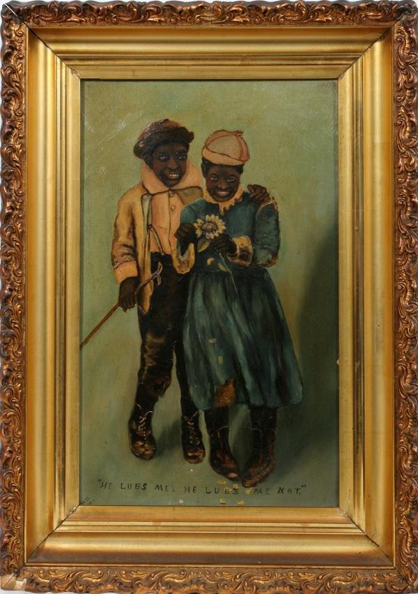 "080011: OIL ON CANVAS, BLACK FOLK ART 1902 20"" X 12"""