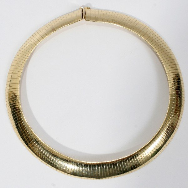 """080017: 14KT YELLOW GOLD NECKLACE/CHOKER, L 14"""""""