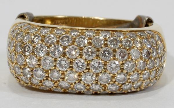 080022: YELLOW GOLD & PAVE DIAMOND RING