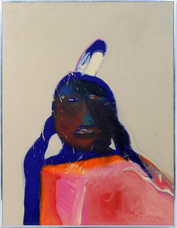 "081004: FRITZ SCHOLDER OIL ON LINEN, 1975, 40"" X 30"","