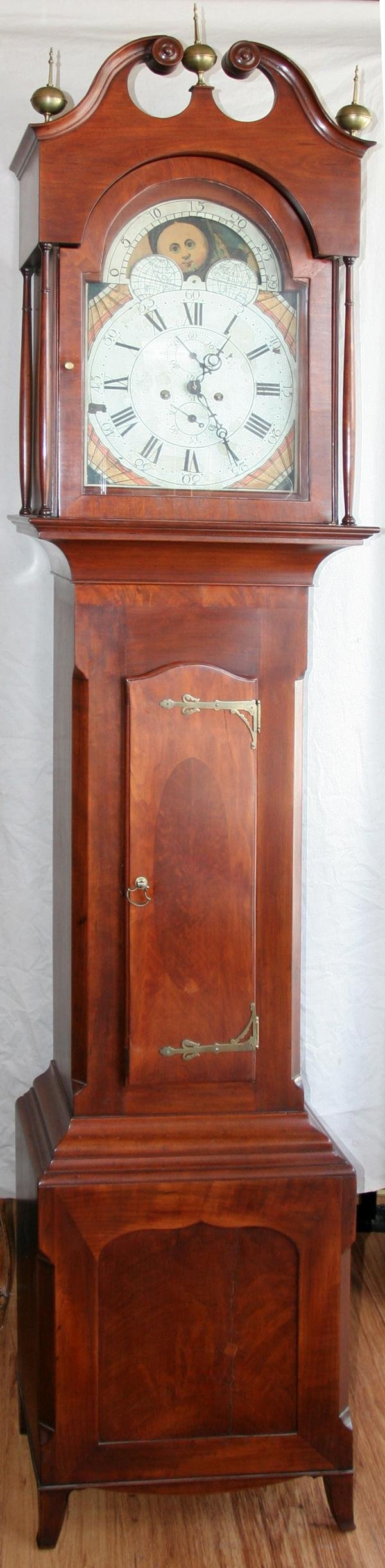 081007: ENGLISH MAHOGANY TALL CASE CLOCK C. 1810, H 93""