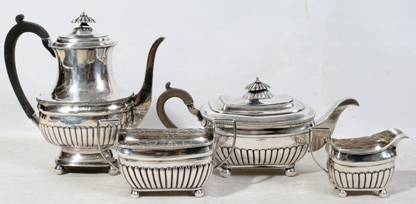 081011: IRISH GEORGE III STERLING TEA & COFFEE SET,