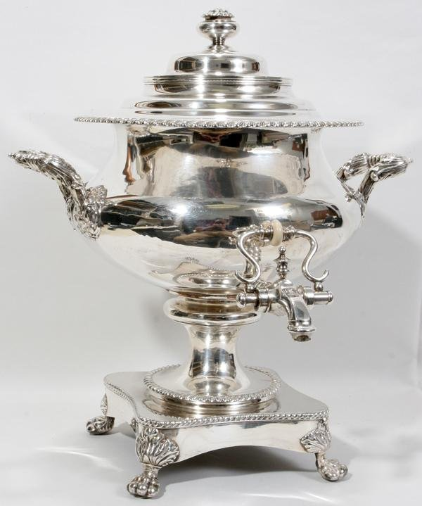 081012: ENGLISH SHEFFIELD PLATE COFFEE URN, C. 1900,