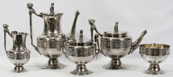"081013: GORHAM ""OLD SILVER"" TEA & COFFEE SET, C. 1865"