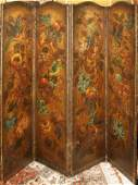 081124 ENGLISH PAINTED LEATHER FOURPANEL SCREEN H 73