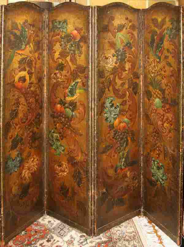 081124: ENGLISH PAINTED LEATHER FOUR-PANEL SCREEN H 73""
