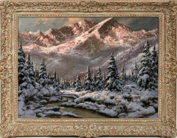 "082003: LASZIO NEOGRADY OIL ON CANVAS 23"" X 31"" WINTER"