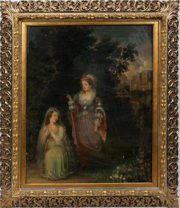 "082004: EUROPEAN OIL ON CANVAS, C. 1850-1900, 34"" X 27"""