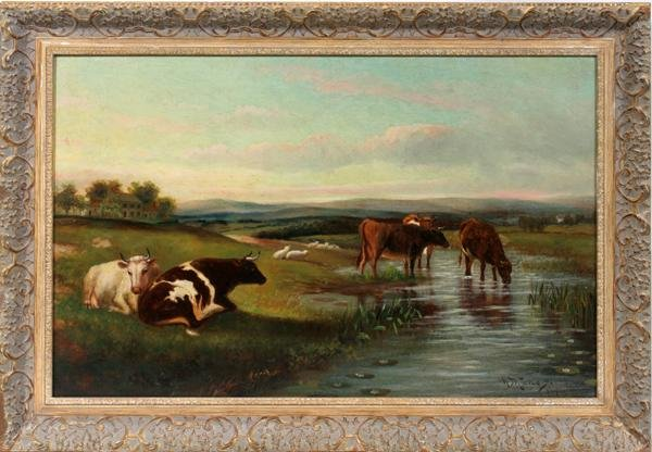 "082008: HUGH BOLTON JONES OIL/CANVAS, ""COWS BY STREAM"""
