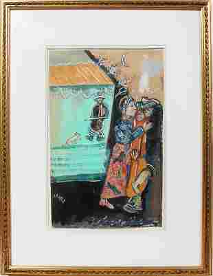 082009: MARC CHAGALL, GOUACHE, INK & PENCIL ON PAPER,