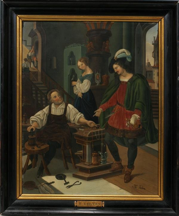 082011: H. VELTEN, GERMAN OIL ON METAL PANEL, C. 1900,