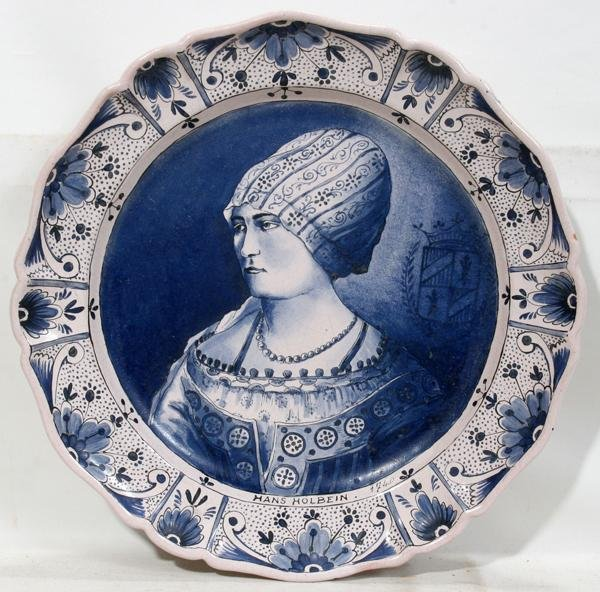 "082021: DELFT BLUE ON CREAM POTTERY CHARGER, DIA 16"","