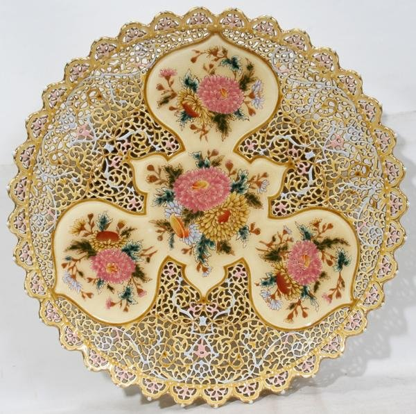 082022: ZSOLNAY AUSTRIAN POTTERY RETICULATED CHARGER,