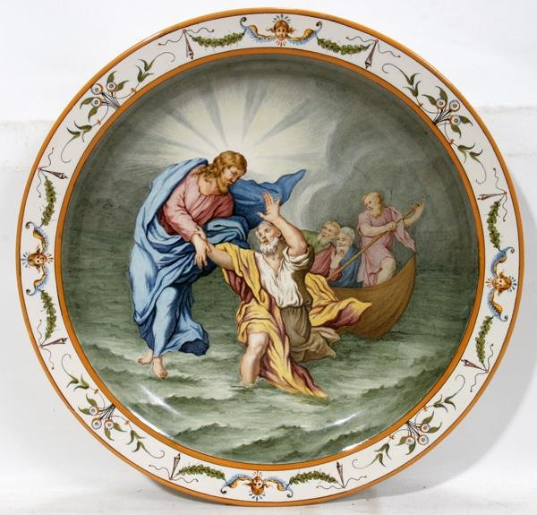082023: GINORI MAJOLICA CHARGER, 20TH C., DIA 15""
