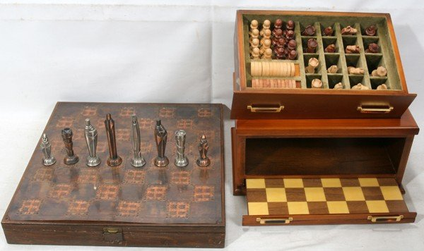 082335: METAL & WOOD CHESS SETS, CONTEMPORARY, 2 PIECES