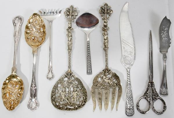 082385: SILVER SCISSORS AND ASSORTED SILVER FLATWARE,