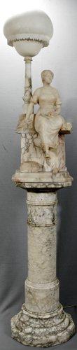 052003: ITALIAN & MARBLE SCULPTURAL TABLE LAMP