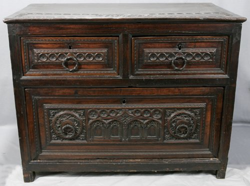 052010: ENGLISH CARVED OAK GOTHIC STYLE PANEL CHEST