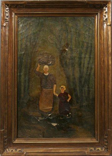 052013: JOSEF ISRAELS, OIL ON CANVAS, DUTCH MOTHER