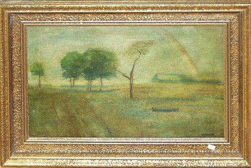 052017: BRUCE CRANE, OIL ON CANVAS, TREES IN FIELD