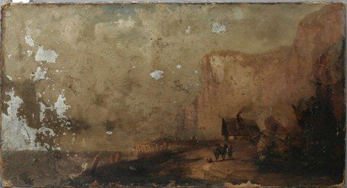 052019: F.D. BRISCO, OIL ON CANVAS, COASTLINE SCENE