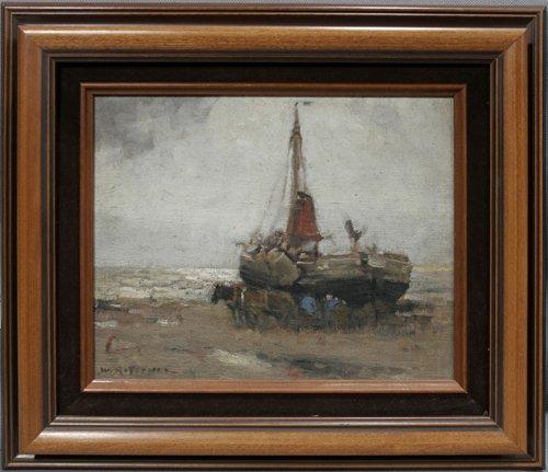 052027: WILLIAM RITSCHEL, OIL ON PANEL, LOW TIDE