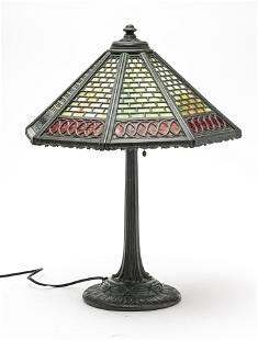 "AMERICAN SLAG GLASS TABLE LAMP C 1900 H 21"" W 16"""