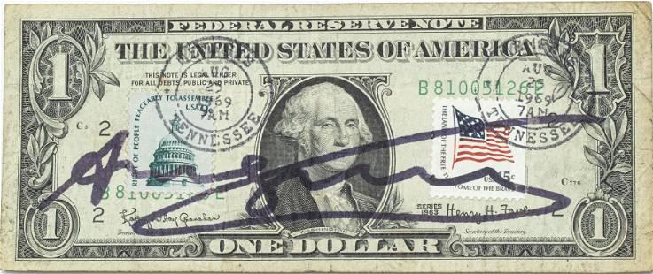 ANDY WARHOL SIGNED ONE DOLLAR BILL
