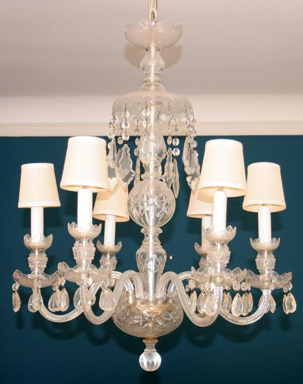090004: CRYSTAL SIX LIGHT CHANDELIER, C. 1940, H 32""