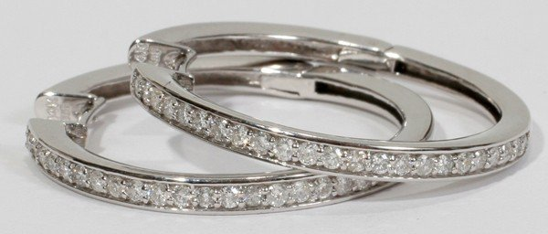 090008: .75 CT. MODERN PAVE DIAMOND HOOP EARRINGS,