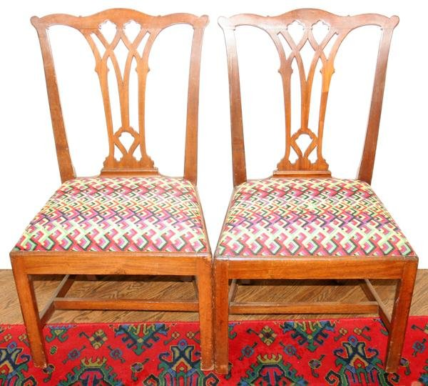 090018: GEORGE III MAHOGANY, PAIR OF SIDE CHAIRS,