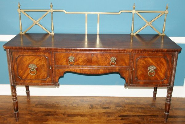 090021: SHERATON ENGLISH CARVED MAHOGANY SIDEBOARD,