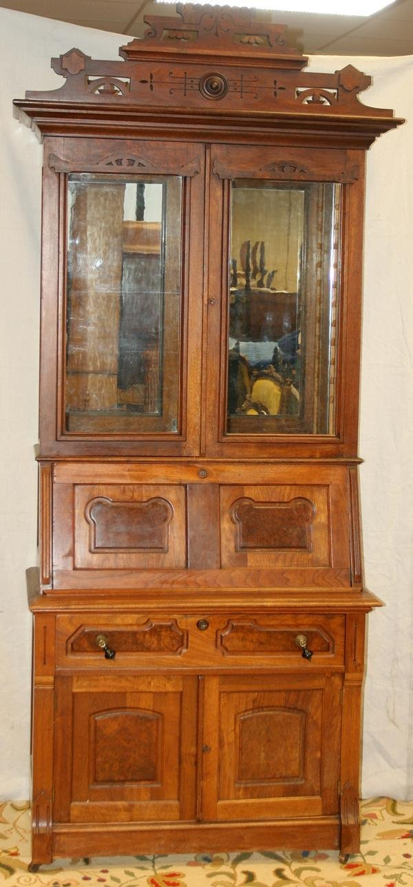 090023: EASTLAKE MAHOGANY SECRETAIRE, TWO PCS, C 1890