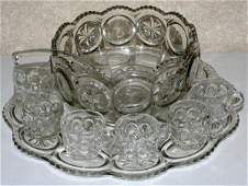 090478: ANTIQUE PRESSED GLASS PUNCH BOWL SET, C 19TH C