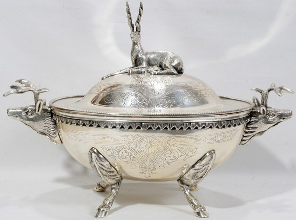 "091007: VICTORIAN SILVERPLATE TUREEN, C. 1880, H 12"","
