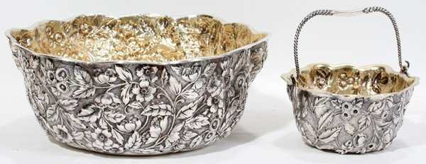 091017: WHITING MFG CO. STERLING REPOUSSE BASKET & BOWL