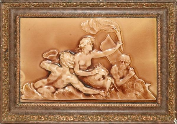 091024: WEDGWOOD MAJOLICA GLAZED PLAQUE, 19TH C.,
