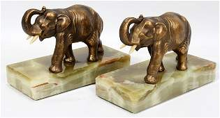 091212 SPELTER  ONYX ELEPHANT BOOKENDS PAIR H 5