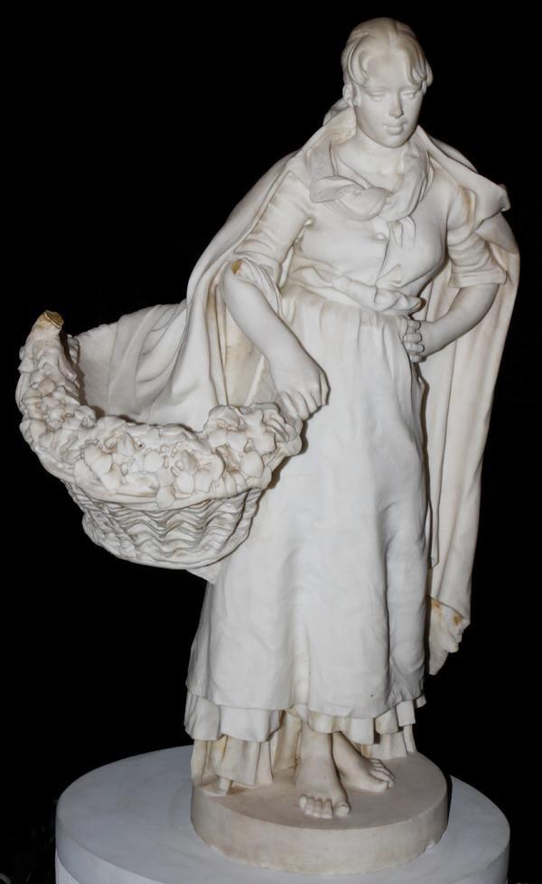 "092002: ITALIAN CARRARA MARBLE SCULPTURE 1885 H30"" GIRL"
