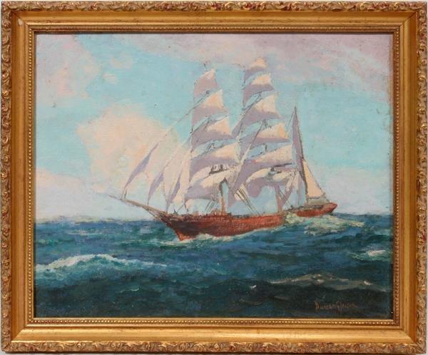 092012: JOE DUNCAN GLEASON, OIL ON ARTIST BOARD, SHIP