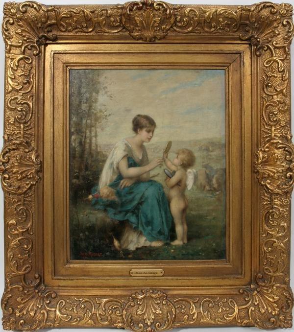 092013: JEAN AUBERT, FR. 1824 - 06 OIL ON CANVAS, 1878,