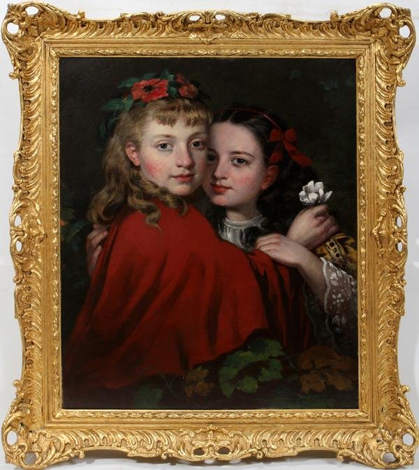 """092018: JAMES COLLINSON, OIL ON CANVAS, """"THE SISTERS"""":"""