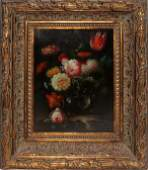 092275 FLEMISH STYLE OIL ON CANVAS 16 X 12 FLORAL