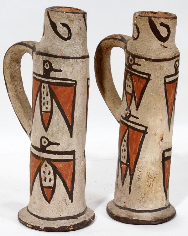 SOUTHWEST AMERICAN INDIAN POTTERY CANDLESTICKS,